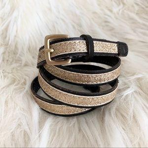 J. Crew Skinny Gold Metallic Leather Belt